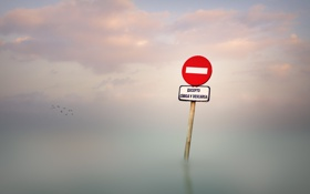 Обои море, туман, знак