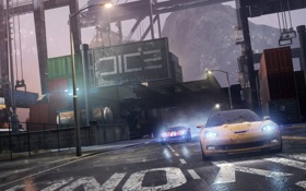 Обои трасса, машины, chevrolet, ford, гонка, арт, Need For Speed Most Wanted