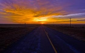 Обои закат, пейзаж, дорога
