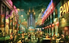 Обои казино, огни, зомби, город, мертвецы, машины, улицы