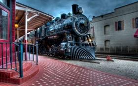 Обои паровоз, станция, поезд