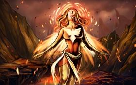 Обои девушка, фантастика, огонь, арт, костюм, лава, феникс