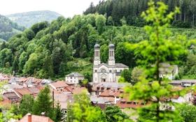 Обои зелень, деревья, горы, город, здания, дома, Германия