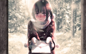 Картинка зима, письмо, снег, аниме, девочка, сердечко, minami seira