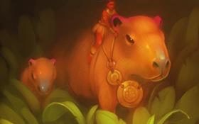 Картинка лес, трава, медальон, art, capybara