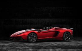 Обои красный, Lamborghini, ламборгини, Aventador J, speedster