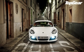 Картинка белый, ночь, Porsche, фонари, Cayman, суперкар, переулок