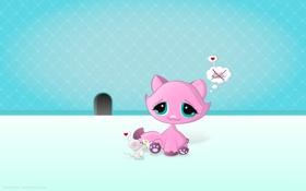 Картинка кошка, цветок, настроение, подарок, мышь, мышка, сердечки