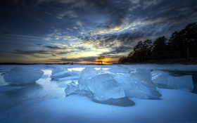 Обои закат, пейзаж, озеро, лёд