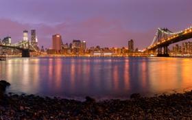 Картинка ночь, огни, панорама, мосты, бруклин