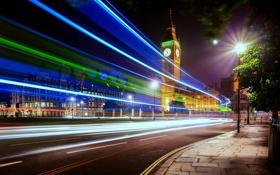 Картинка England, Великобритания, улица, выдержка, Биг Бен, свет, Big Ben