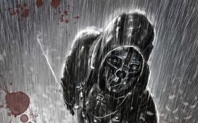Картинка дождь, арт, Корво, dishonored, Корво Аттано, by AndPCH