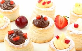 Обои вишня, ягоды, шоколад, клубника, сладости, крем, десерт