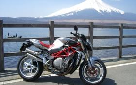 Обои озеро, гора, мотоцикл, байк, MV Agusta, фудзияма, Brutale S