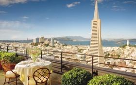 Обои город, терраса, San-Francisco, Hotel Mandarin Oriental, высота, вид, ресторан