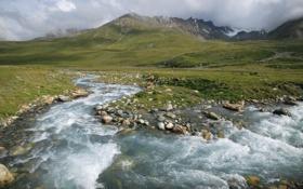 Обои вода, пейзаж, горы, природа, ручей