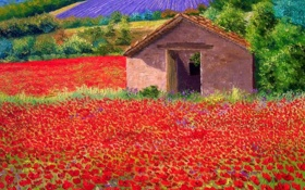 Обои поле, лето, масло, маки, картина, домик, Jean-Marc Janiaczyk