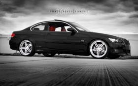 Картинка bmw 3 coupe, 360 forged, черная BMW на рабочий стол