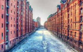 Картинка лед, вода, город, здания, гонконг, hong kong, харбор