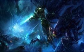 Картинка камни, монстры, битва, starcraft 2, zeratul