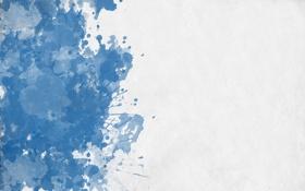 Картинка белый, синий, кляксы, white, blue, splats
