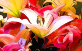 Картинка природа, абстракция, рендеринг, лилия, лепестки