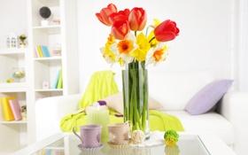 Картинка цветы, свечи, ваза