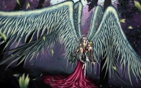 Обои деревья, природа, девушки, кровь, крылья, аниме, слезы