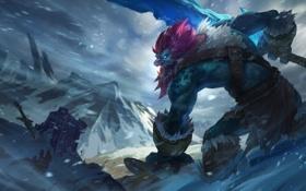 Обои холод, снег, горы, монстр, меч, арт, трупы