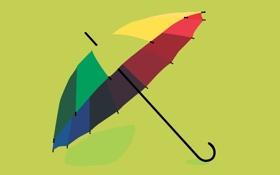 Обои цветной, umbrella, желтый, зонтик, зеленый, красный, минимализм