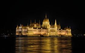 Обои вода, ночь, огни, отражение, река, столица, Венгрия