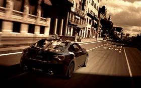 Картинка дорога, облака, полосы, скорость, дома, черная, Toyota