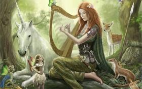 Обои лес, копье, музыка, косуля, девушка, звери, рюкзак