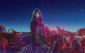 Обои девушка, машины, ночь, мотоцикл