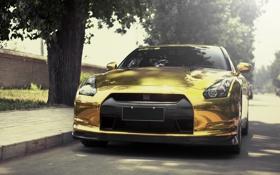 Обои nissan, gold, sportcar, gtr