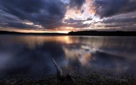 Картинка пейзаж, ночь, озеро