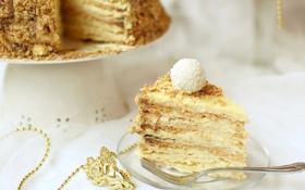 Обои торт, кусок, наполеон