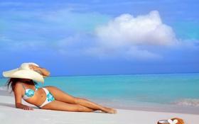 Обои песок, океан, Девушка, кокос, облока