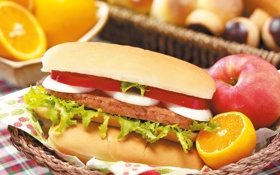 Картинка Цвет, Апельсин, Еда, Вкусно, Бургер