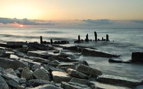 Обои море, волны, небо, солнце, пейзаж, закат, природа