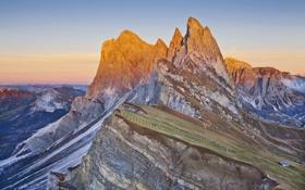 Картинка небо, закат, горы, дом, склон