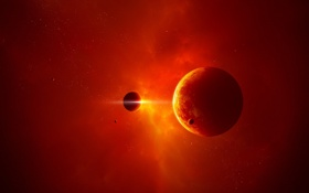 Картинка звезды, свет, планета, спутники