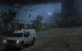 Обои дорога, машина, мощь, арт, торнадо