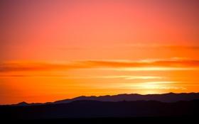 Обои закат, Acequie Madre, Santa Fe, силуэт, горы, небо, краски