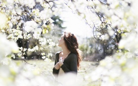 Картинка сад, весна, девушка, настроение