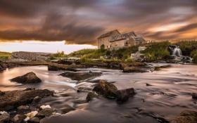 Картинка тучи, река, камни, Шотландия, старый, Кейтнесс, завод Westerdale