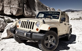 Обои скалы, пустыня, джип, jeep, wrangler, unlimited, mojave