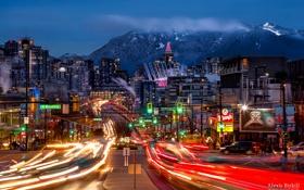 Картинка ночь, город, огни, вечер, выдержка, Канада, Ванкувер