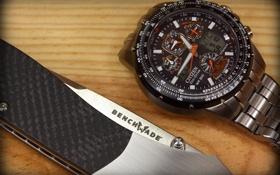 Картинка часы, нож, benchmade, citizen