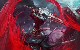 Обои кровь, дракон, меч, воин, арт, битва, chenbo